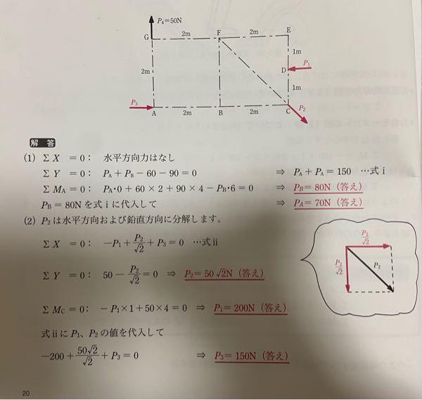 物理についての質問です。 この画像の問題なのですが、偶力のモーメントについて、なぜP4とP1が釣り合うのか分かりません。どこが平行で逆向きの関係になっているのでしょうか。どの点を中心としているのでしょうか。