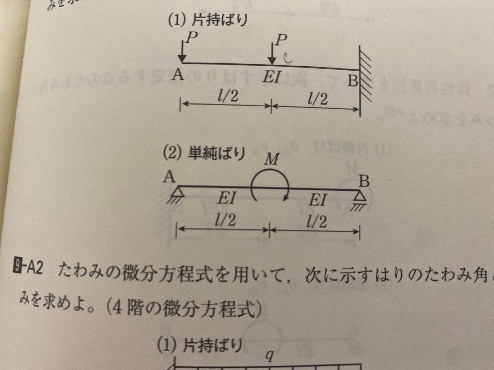 構造力学の問題です。 この2番の曲げモーメントの求め方を教えてください。