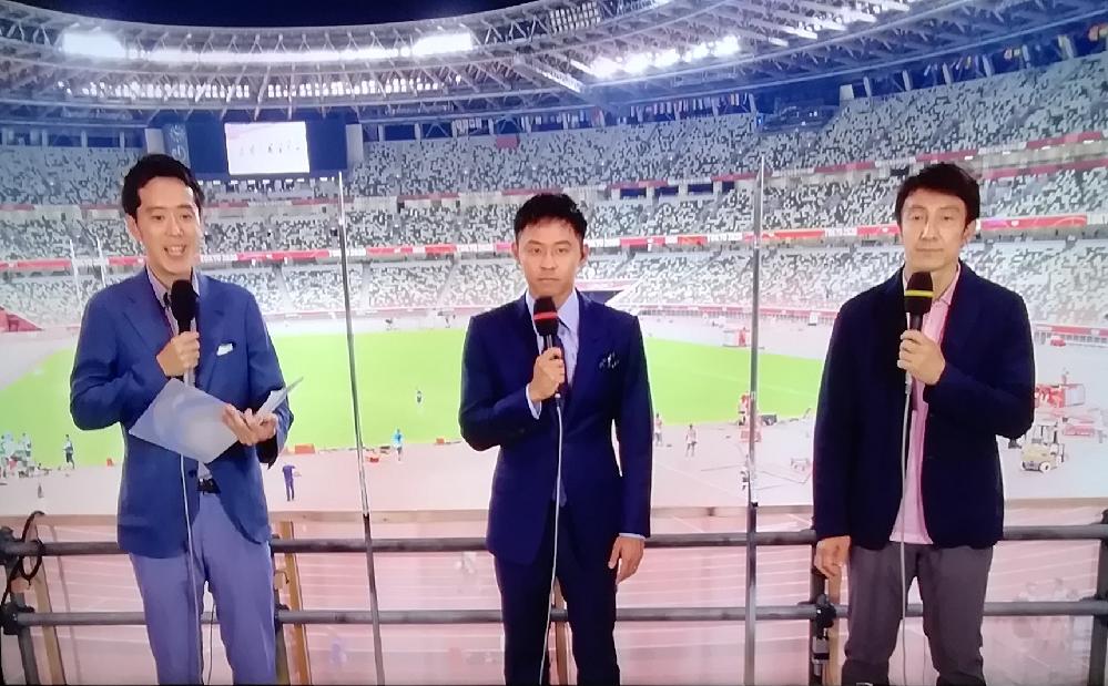 NHK陸上の中継していたこのアナウンサー誰ですか? 朝原さんも北島さんもそこそこの身長なのに2人が見上げるくらいの高身長です。