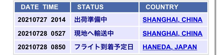 フライト到着予定日から5日は経ってるんですがもうすぐ届きますかね(--;)