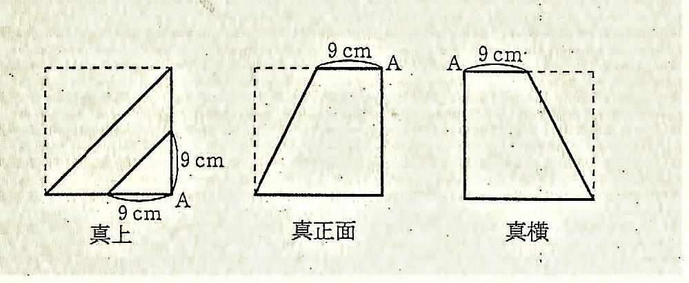 すみません。どなたか、下の算数の問題を教えてください。考え方も含めてm(__)m 1辺が18cmの立方体をある平面で切断し、真上、真正面、真横から見たら、右図のようになった。この立体の体積を求めなさい。ただし、角すいの体積は、(低面積)×(高さ)÷3で求められます。