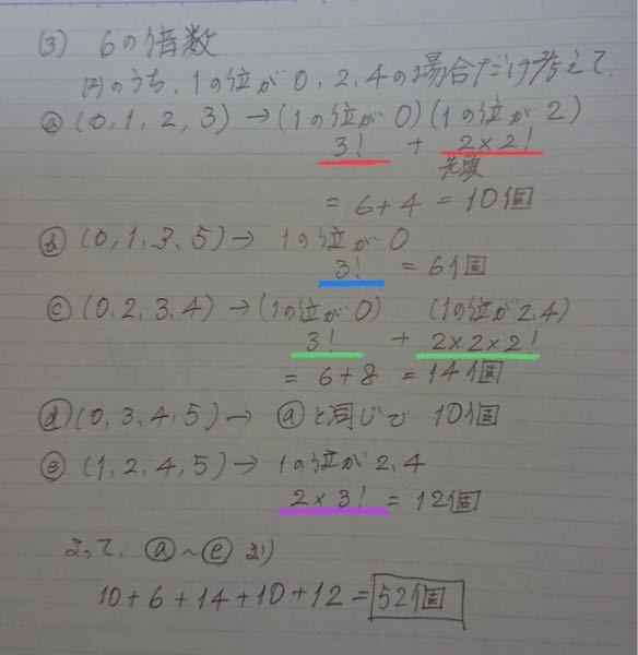0,1,2,3,4,5の6個の数字から異なる4個の数字を取って並べて、4桁の整数を作るものとする。 次のものは何個できるか? この問題の(3)の6の倍数 についての質問です。赤線の様に3!2×2!となるのですか?それ以外の線のところもどうやってその計算になるのか教えて下さい。
