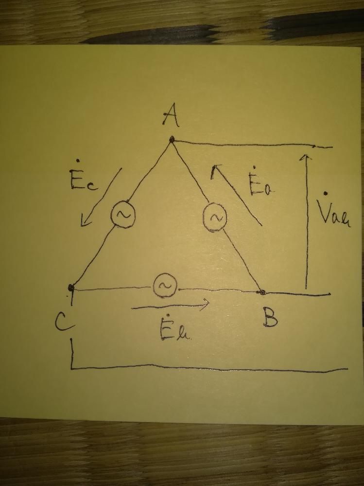 『電気回路の計算』について質問です。 初歩的な質問で恐縮ですが、お答えいただけると有難いです。 下の画像の電圧Vab=Eaを取り出すとき、EbとEcの影響は受けないのでしょうか? AとBとCは接続されているので、Vab=Ea+Eb+Ec=0になるんじゃないかと考えてしまいます。 ご回答いただけると幸いです。
