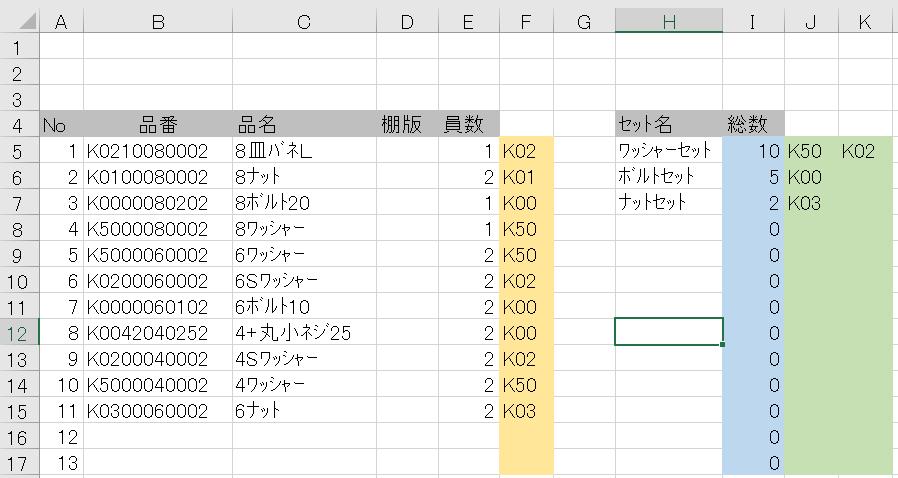 エクセルからB列の品番前3桁を抜き取り、3桁同じものを員数を積算してI列に総数として表示させております。 『現状』 F列は品番の前3文字を抜き取り。 F5 =LEFT(B5,3) 下にコピー J・K列は対象3文字を入力 以上にて I5 =SUMIF(F:F,J5,E:E)+SUMIF(F:F,K5,E:E) 下にコピー これを対象文字を4桁にして、 対象①.K021、K022、K023、K024、K025 対象②.K026、K027 対象③K028、K029 と細分化したいと考えております。 現状でも条件の列(J.K…)を増やすと可能ですが、 対象①。K021、K022、K023、K024、K025 を「K021~K025」といった検索式は作れないでしょうか?