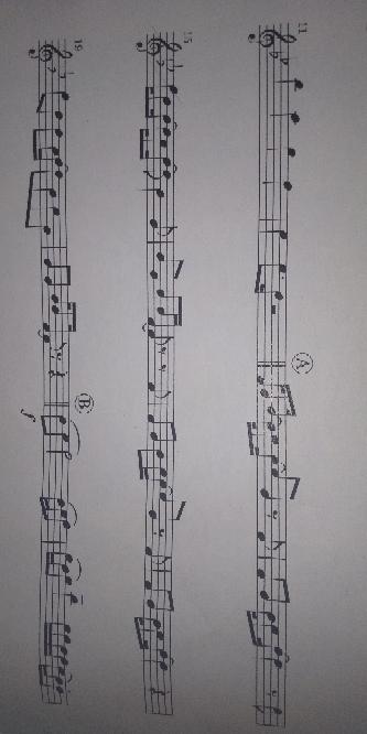 吹奏楽で楽器が足りないため、クラリネットの楽譜の一部アルトサックスで吹くことになりました。 しかし、クラリネットの楽譜をアルトサックスで吹くには楽譜の書き変え?読み変え?が必要だと聞きました。しかし、そのやり方がわかりません…。 そのため、下記の写真の楽譜のA~Bまでを詠み変えた書き替えたものとやり方を教えてもらいたいです。お願いします。