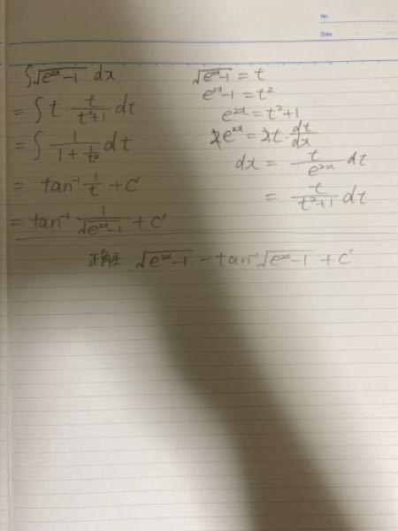 この不定積分どこで間違えていますか? 答えは下に書いた値らしいです。 わかる方いたらお願いします