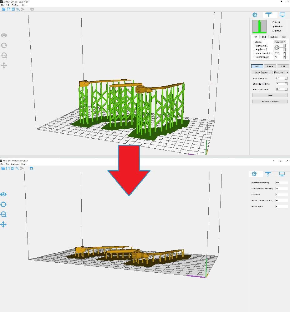 3DプリンターのAnycubic Photon(旧版)のスライサーソフトで サポート材を付ける際、出力品のデータの位置を高くしてから サポート材を付けると、パネルを切り替えた際に高さが下がって しまいます。 データの高さを維持したままサポート材を付けるにはどうすれば いいでしょうか?