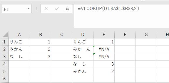 エクセルでVLOOKUPを使用した引用で下記の画像のように 検索が「りんご」でも「りん ご」でも探し出す方法はありますか? (VLOOKUPでなくても構いません)