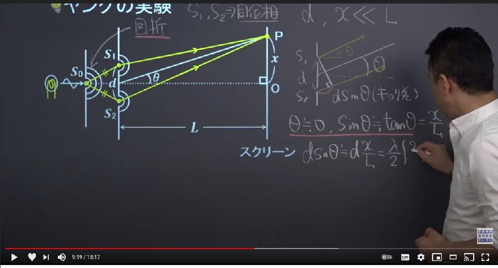 YouTubeの映像授業を見てよく分からないところがあったので質問します。 ヤングの干渉実験についてです。 ヤングの干渉実験でS1PとS2Pの経路差はsinΘ そして今回はΘを0に近似できるとありました。 動画ではそこからsinΘをtanΘに近似して経路差を考えていたのですが、 僕はΘが0に近似出来るなら経路差もsin0で0と近似されてしまうのでは? と思いました。 Θ≒0だからsinΘ≒sin0としてはいけない理由を教えてほしいです。