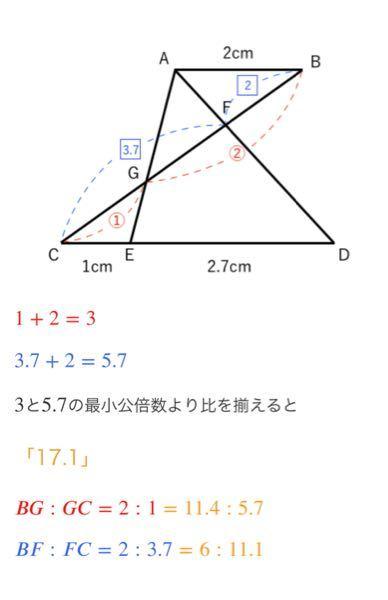 中学受験算数の相似の問題で最小公倍数から比を揃える所で写真の文にもありますように「3と5.7の最小公倍数より比を揃えると17.1」の所で何故17.1なのか難しくて分かりません。 どなたか17.1...