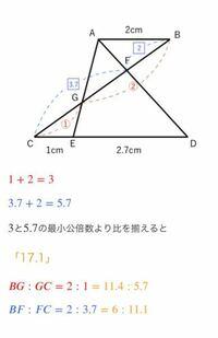 中学受験算数の相似の問題で最小公倍数から比を揃える所で写真の文にもありますように「3と5.7の最小公倍数より比を揃えると17.1」の所で何故17.1なのか難しくて分かりません。 どなたか17.1を導き出すまでの計算方法を分かりやすく教えてください。宜しくお願い致します。