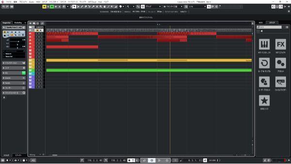 Cubase artist 11をしようしているものです。 画像の黄色い線の消し方を教えてください。