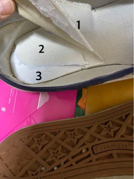 靴の中敷きがどこまでなのかが分かりません。 新しい中敷きをつけるために、古い中敷きを外したいのです。 番号でいうと、どこまでが中敷きなのでしょうか?