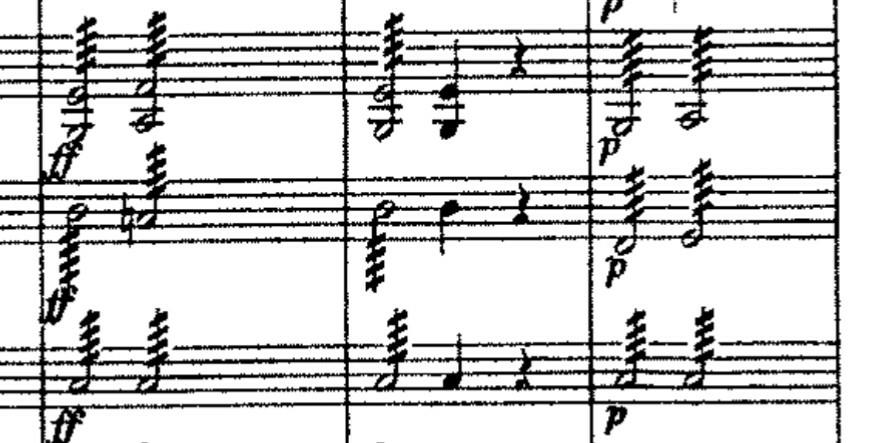 この斜め線がついた音符はどのように弾くのですか?