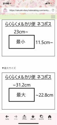 メルカリのらくらくメルカリ便のネコポスの最小サイズって、縦横どっちも↓より大きくないといけないんですか? この間らくらくメルカリ便って注文したものが届いた時に縦が23cmなかったので疑問に思いました
