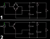 倍電圧整流回路について質問です。 http://www.falstad.com/circuit/circuitjs.html こちらのサイトにおいて、倍電圧整流回路制作の前段階として実験をしてみました。  そこで、画像に示す通り2つの回路を作成しました。 条件は次の通りです。 電源  60Hz 141V 各コンデンサ  逆耐圧 1V  それぞれの回路をシミュレーションしてみると②の回路は、 ...