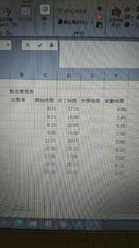 エクセルでシフト表を作成しています。 休憩時間の計算を自動でしたいのですが、関数がわかりません。 労働時間が6時間未満は0分,6時間から8時間未満は45分,8時間以上は60分休憩です。 業務開始時間をC4、終了時間をD4、休憩時間をE4、実働時間をF4で作成しています。  どなたか教えていただけますと幸いです。 よろしくお願いいたします。
