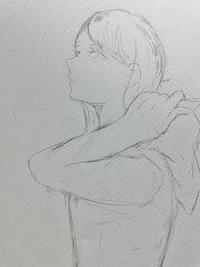 絵の添削をお願います  パーカーのフードを頭から外している女性を描きたいのですが、腕の部分に違和感を感じます。どうすれば良いでしょうか?
