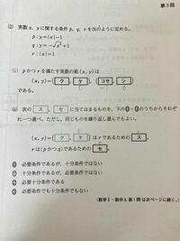 【数Ⅰ】十分条件・必要条件 写真の問題(ⅱ)について質問です。(ク~セの真下に書いてあるのは正しい答えです。) (x,y)=(1,0)はrであるための十分条件ではあるが、必要条件ではないとのことですが、なぜ十分条件ではあるのかがわかりません。 もしr=−1だったら(x,y)=(1,0)は満たさないのに、どうしてこの答えが正しくなるのですか?
