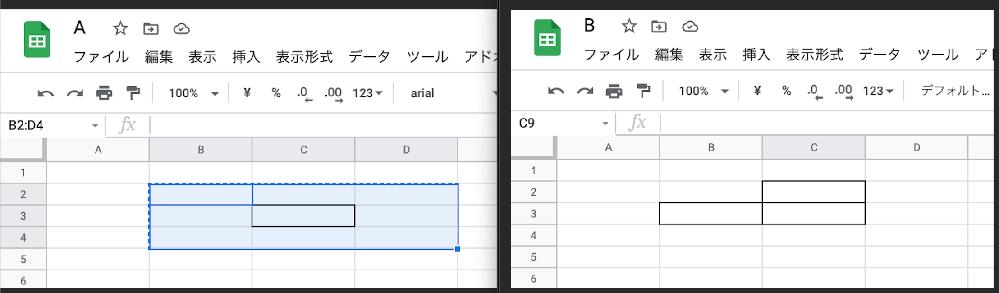 スプレッドシートの罫線のコピー方法についてです。 画像にあるようシートAにある罫線(選択範囲は一周外側から)を別のシートBにコピーすると罫線の表示が変わります。 何パターンか試しましたが本来の枠の一つ上と一つ左に追加枠線が表示されているようです。 これはバグでしょうか? 全く同じものを別シートにコピーする方法があれば教えていただければうれしいです。 よろしくお願いいたします。