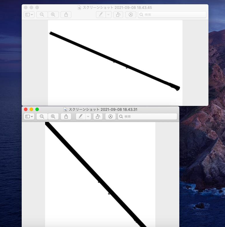 画像編集について 初歩的な質問で申し訳ないのですが、上の画像のように横長になっている画像を、下の画像のように正方形にして棒の部分を対角に表示させたいです。できる限り画質を落とさずに編集したいのですが何か良い方法はないでしょうか? 使用するソフトやアプリなども教えていただけると助かります。よろしくお願いします。