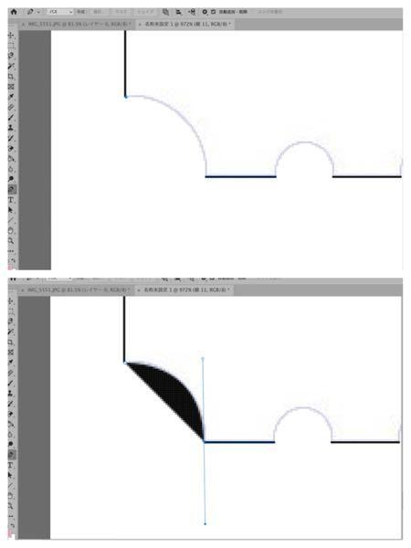 Adobe Photophopで曲線の引き方を教えてください。 上の写真の灰色の曲線にそって線を引きたいのですが、ペンツールを使うと塗りつぶしされてしまい、線ではなく図形になってしまいます。線にする方法を教えて欲しいです。 Photoshop自体初心者なので詳しく教えて頂けると嬉しいです。