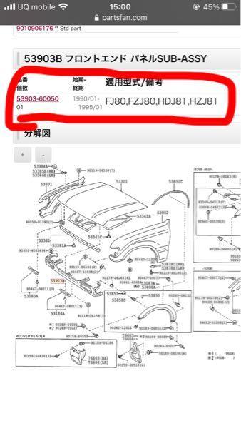 ランクル80 H5 FZJ80G 53903-60050のフロントエンドパネルについて 以前、質問したものです。 フロントバランスパネルをヤフオクで購入したく、品番は合っているけど、年式が違う...