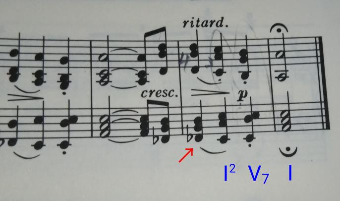 シューベルトの「即興曲op.142-2」について。 この曲の最後の和音進行、Ⅰの2転回 − Ⅴ7 − Ⅰに行く直前の和音、 コードで言うと、B♭m−5を和音記号で表すとどうなりますか?