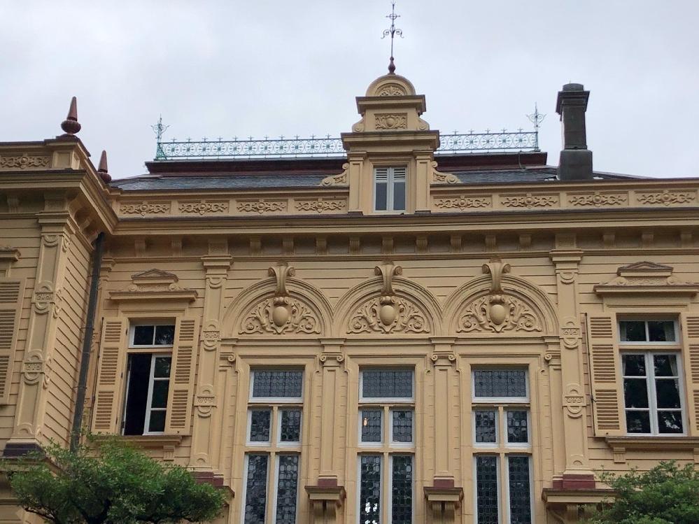 洋館巡りにはまっています。 アール・ヌーヴォーの装飾によくある、マンゴーのような形をした植物は何でしょうか? 写真は旧岩崎邸で、3つ並んだアーチ型のペディメントの中にあるものです。 ご存知の方が...