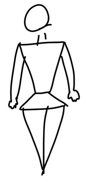 私の体型が、 肩幅が広く、ウエストは細いんですけど、 腰からお尻にかけて大きくなっていって、 太ももがバレーボールをやっていたので、 大根レベルではなく、もうミニブタを飼っているような感じに太いです。 イラストで表すとこんな感じです。 身長165に体重60です。 どんな服を着るといいのでしょう、 アドバイスお願いします