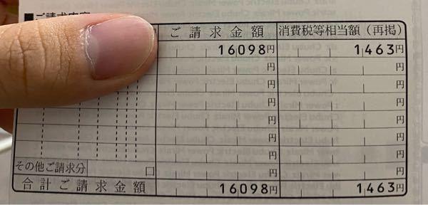 この消費税の1463円って16098円に含まれていますか? ちなみに電気代です。