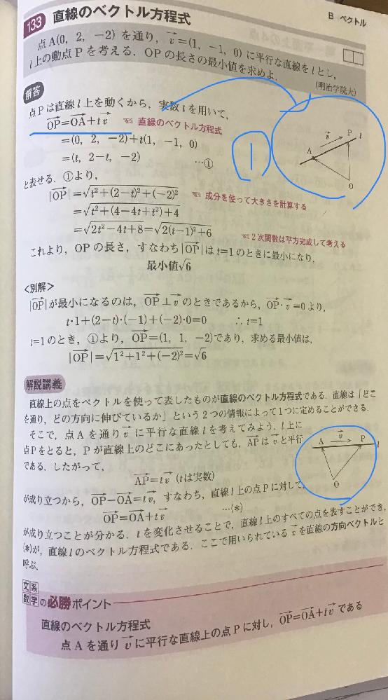 数学B、ベクトルの質問です。 このOPベクトル=OAベクトル+tvベクトルのこの図のイメージが湧きません。どういう意味なのでしょうか。教えてください。よろしくお願いします。