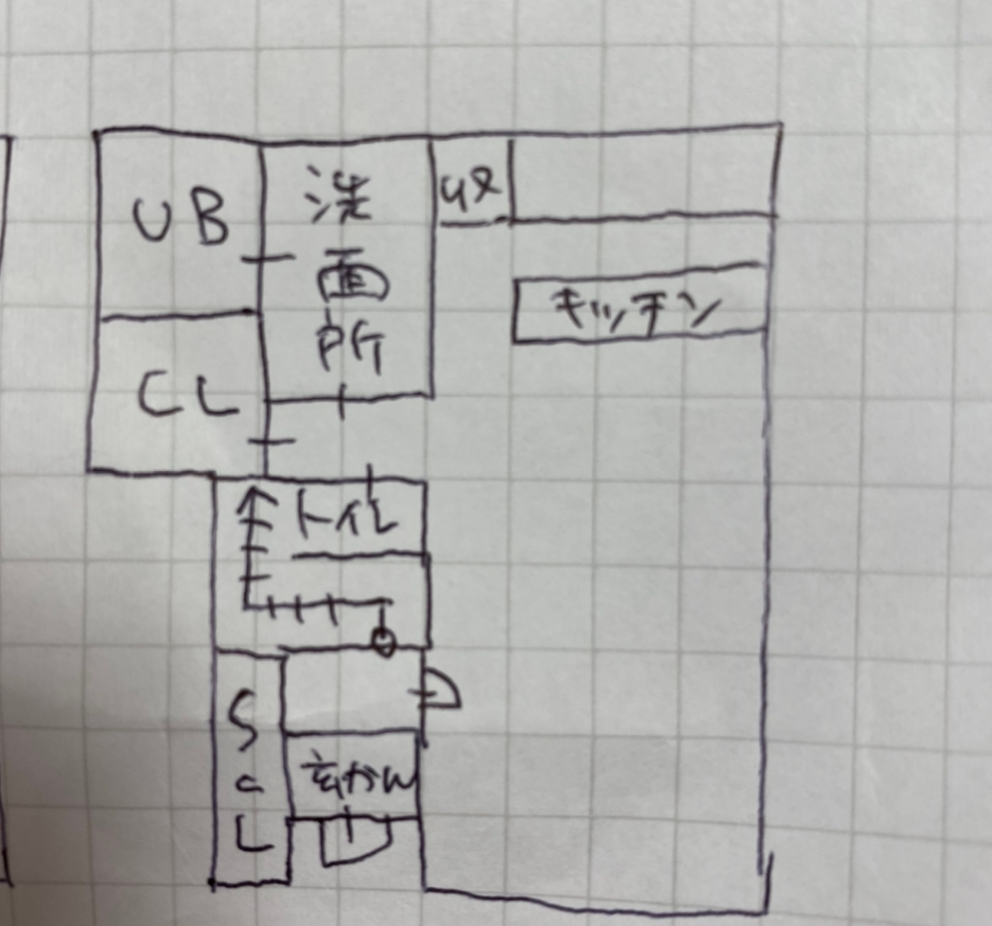 間取りについて相談です。 1マス91cm計算で書きました。 階段下にトイレやCLが干渉することは折り込み済みです。 玄関入ってすぐ階段など、この構造は現実的ではないでしょうか?