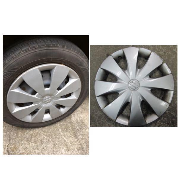 スズキワゴンR ホイールキャップ 広瀬すずちゃんがCMしている車のホイールキャップが盗まれました。 左が元々ついていたキャップなのですが、右のスズキのキャップでもつきますか? どちらも14インチです。 見た目が少し違います。