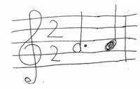 画像の2個の音符は、どのように吹けば良いですか? 問1 スピードを80とした場合、付点2分音符を60、4分音符を20、というような長さで吹けばよいのでしょうか? 問2 このスピードはメトロノームで4拍子、80に合わせて練習すればよろしいのでしょうか?