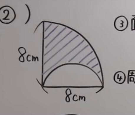 答えは3πcm²になるみたいなのですが、この問題の途中式を教えていただきたいです! ※円周率はπとする