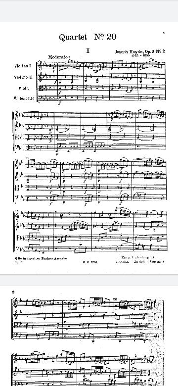 Joseph Haydnの作品番号についてです。 Hoboken番号やOpusなど非常にややこしいのですが、一つ理解できない番号のString Quartetがありました。 String Quartet No. 14 E - Flat Major, Op. 9 No. 2 Hob. III: 20 と記載されているのですが、No. 14とはどう数えて14とつけられているのでしょうか? 私は、Op. 9 No. 2 Hob. III: 20とあるので彼の9番目(Op. 9, 彼の全ての形式の作品の中での9番目)の作品群の中で2番目のものであり、Hob(彼の弦楽四重奏曲すべての中で)20番目の作品である、という認識なのですが、どこか間違っているのでしょうか? 一楽章の冒頭の画像を貼っておきます。