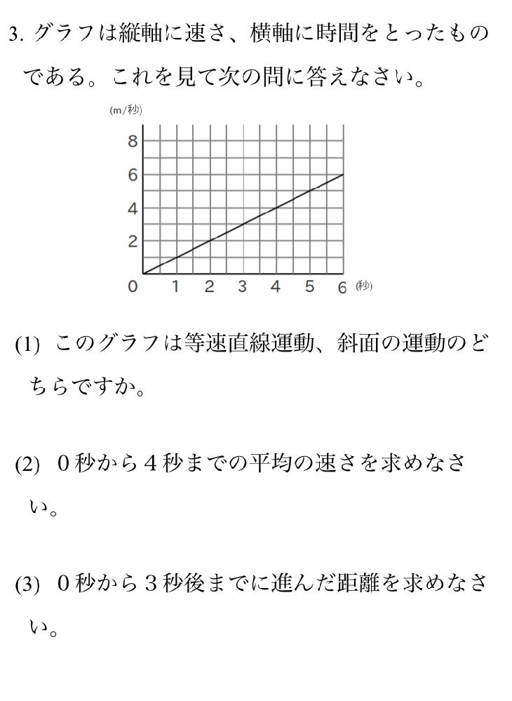 急遽お願いします!明日テストあるんです! 写真の、(2)と(3)の解説お願いします! 答えは、(2) 2m/秒 (3) 4.5mです 解きかたおしえてください!