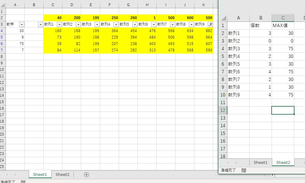 """VBAについて教えてください。 3行目の「数列」の項目を、同列の2行目に記載がある数字を元に、「以上」のフィルターで絞って、(数列1では""""40""""以上) その後の抽出された状態での、A列の入っている数字の個数と、抽出後のA列にあるMAX値を、別シートに記載して、 この作業を数列1~数列9まで繰り返すには、どのようなコードを書けば実現できますでしょうか。"""