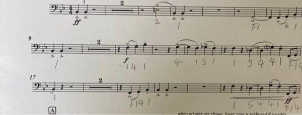 トロンボーンの楽譜で間違ってるところがあれば指摘してください。