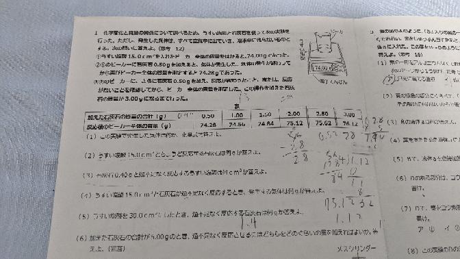 中学生2年生 理科 (2),(3),(4),(5),が理解できません。 なぜこうなるのかの途中式もお願いしたいです。 答えは順に2.00g/3.0cm³/0.88g/4.00g/です。 回答よろしくお願いします。
