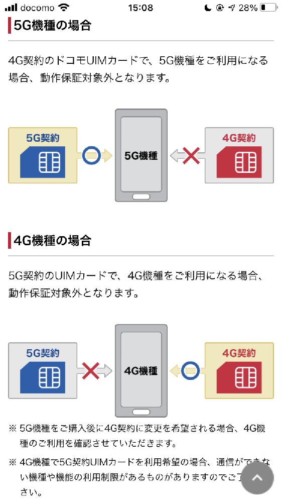docomoユーザーです。シンプルプランです。 iPhone8から13へ機種変更したいと思っています。その際、docomoのお店ではなくAppleのオンラインストアで購入を考えています。その際に、自分でSIMカードの入れ替えをすることは理解したのですが下のような説明を見て今の契約を変更しないと使用できないのではとまたわからなくなってしまいました。 ここにはUIMカードとありますしSIMカードとの違いなどもよくわかっていません。 やはり今契約中のシンプルプランでは5Gスマホは使えないんでしょうか? 今日の夜からiPhone13の予約が始まってしまうのでどなたか優しい方教えていただけないでしょうか。