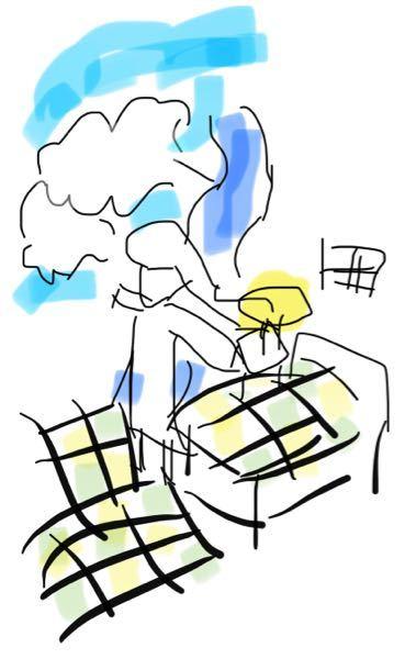 ある絵のタイトルが思い出せません。 右側にベッドがあり、その上に少年がいた気がします。 左下にはベッドの布団の柄と同じ畑がありました。 川と飛行機もいました。 中央に空を飛ぶ少女がいました。服は白のワンピースでした。 このようなものでした。