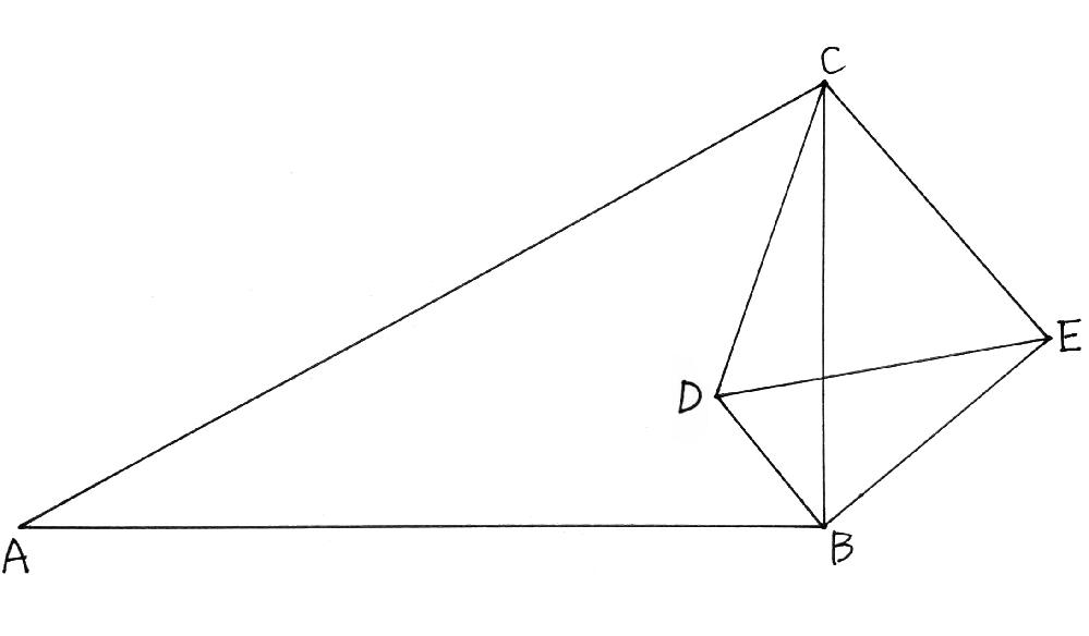 下図において、△CDEは正三角形, ∠ABC=∠DBE=90° ∠BCA=∠EDB=60°となっています。 このとき、3点A,D,Eは同一直線上にあることを、 中学範囲で三平方の定理を使わずに証明してください。
