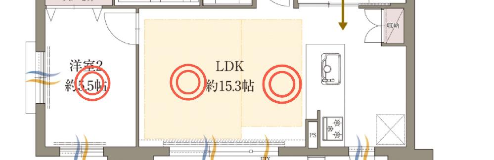 新築マンションの照明について。 マンションを購入して内装を考えています。 LDKを広くとりたいため、洋室の間の壁を無くし、20畳くらいのLDKにしようと考えています。 その際、初期の設備だと、◎の場所に引掛シーリングがあるのみです。(補足ですが、台所には別にダウンライトが3ヶ所くらいあるみたいです。) LDの部分にはダウンライトを追加せずに3つそれぞれにシーリングライト等を付ければ大丈夫でしょうか? シーリングライトを3つもつけると不格好になりそうな気もしています。 アドバイスあればよろしくお願いします。