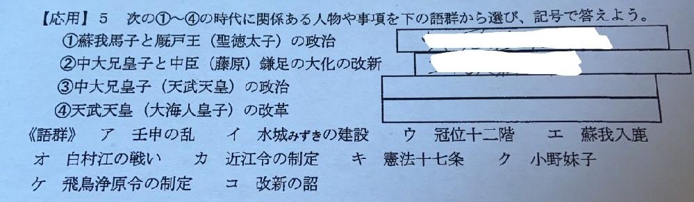 日本史の課題で出た問題なんですが教科書や授業のプリントなどを見ても分からないので教えて頂きたいです。①〜④の全て教えていただけると嬉しいです