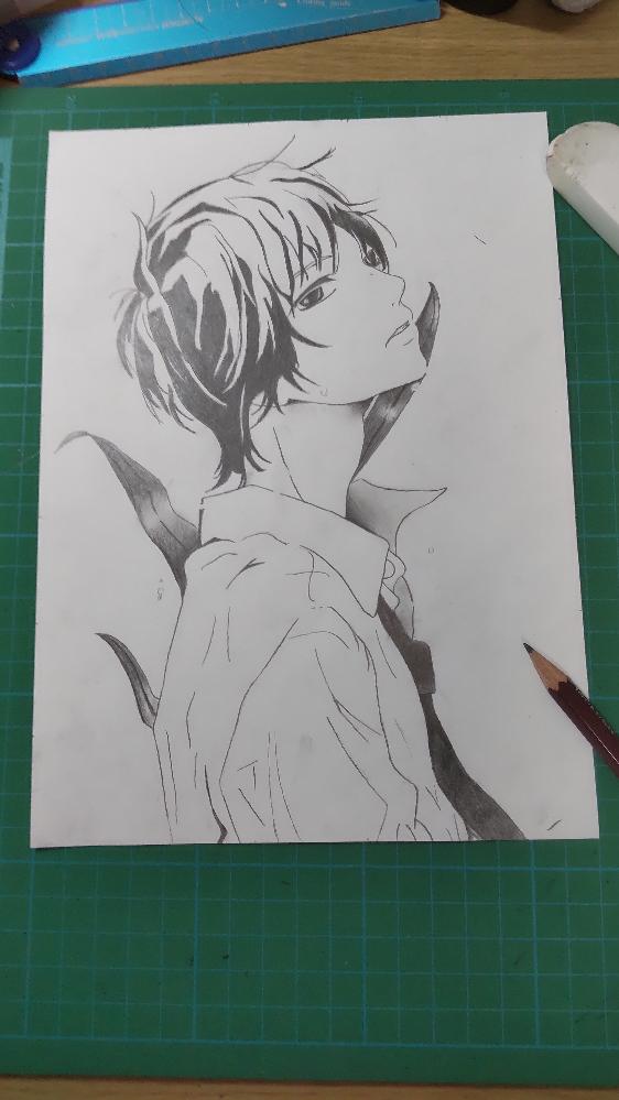 鉛筆画で、イラストを少しやってみたのですが、髪とか描き方分からなくてゴチャゴチャしてしまいました… 美術経験は特にないので、お手柔らかに… カキツバタという花をイメージしただけなので、後ろの葉っぱはきにしないでください、高1です。 アドバイスお願いします!