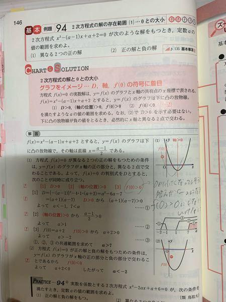 数1の二次方程式と不等式?の問題です! この例題94の(1)なんですけど なぜ-2<a<-1は答えに含まれないんですか? わかる方いたら教えて下さい!