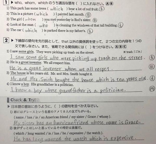 高校英語 関係詞です。 間違っているところがあれば、その箇所と正しい答えを教えていただきたいです。 よろしくお願いします。