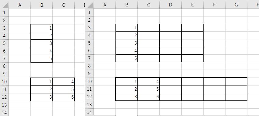 """VBAのfor nextステートメントについて教えていただきたいです 画像にあるように同じbookの中のsheet1からsheet2へデータを転記したいのですが、画像上側の1列ずつ転記するには下記のコードでできたのですが、画像下側の2列ずつ転記していくにはどうすればよいでしょうか? Sub test() For i = 2 To 5 If Sheets(""""Sheet2"""").Cells(3, i).Value = """""""" Then Sheets(""""Sheet2"""").Cells(3, i).Value = Sheets(""""Sheet1"""").Range(""""B3"""").Value Sheets(""""Sheet2"""").Cells(4, i).Value = Sheets(""""Sheet1"""").Range(""""B4"""").Value Sheets(""""Sheet2"""").Cells(5, i).Value = Sheets(""""Sheet1"""").Range(""""B5"""").Value Sheets(""""Sheet2"""").Cells(6, i).Value = Sheets(""""Sheet1"""").Range(""""B6"""").Value Sheets(""""Sheet2"""").Cells(7, i).Value = Sheets(""""Sheet1"""").Range(""""B7"""").Value Exit For End If Next End Sub"""